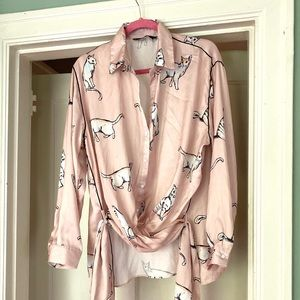 ZARA silky pink cat print blouse with waist sash